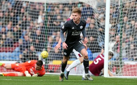 Harvey Barnes of Leicester City celebrates after scoring to make it 0-1 during the Premier League match between Burnley FC and Leicester City - Credit: GETTY IMAGES