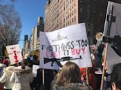 <p>Protesters gather with signs in NYC. (Photo: Laura Kenney for Yahoo Lifestyle) </p>