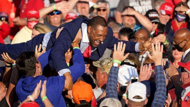 PHOTO:Ga. State Rep. Vernon Jones crowd surfs during a Donald Trump campaign rally in Macon, Ga., Oct. 16, 2020. (John Bazemore/AP, FILE)