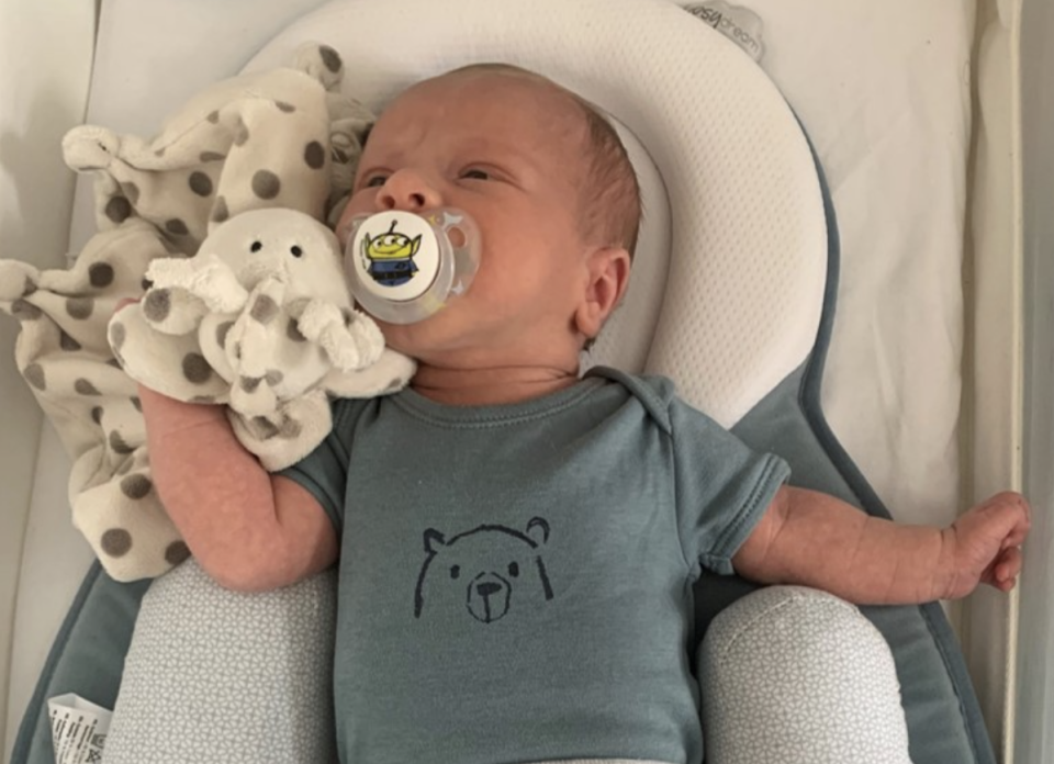 Ciaran Leigh Morris, two weeks old, is pictured.
