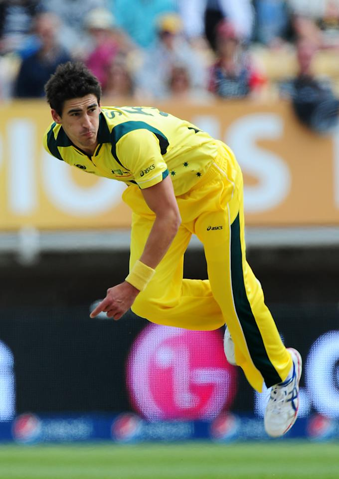 Australia's Mitchell Starc bowls during the ICC Champions Trophy match at Edgbaston, Birmingham.