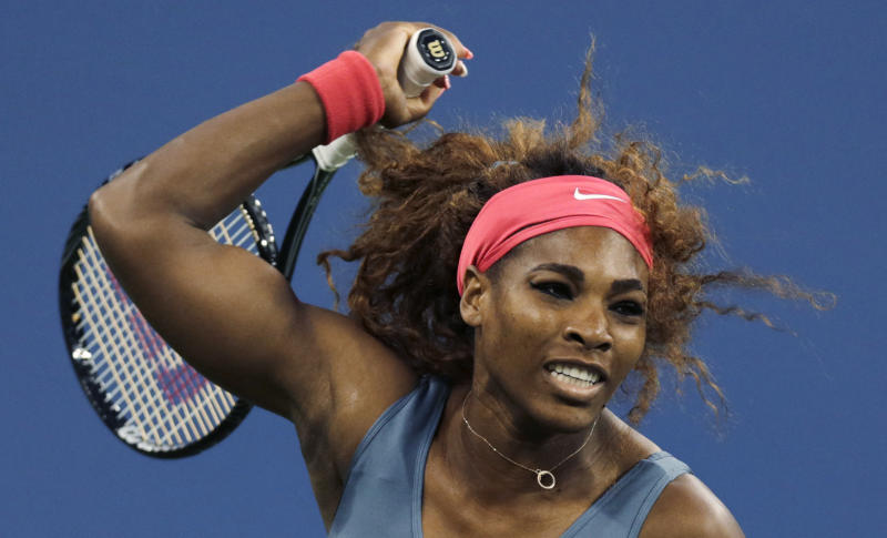 Serena Williams, of the United States, watches a return to Carla Suarez Navarro, of Spain, during a quarterfinal of the U.S. Open tennis tournament, Tuesday, Sept. 3, 2013, in New York. (AP Photo/Charles Krupa)