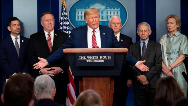 PHOTO: President Donald Trump speaks during the daily briefing on the novel coronavirus at the White House, on March 20, 2020, in Washington. (Jim Watson/AFP via Getty Images)
