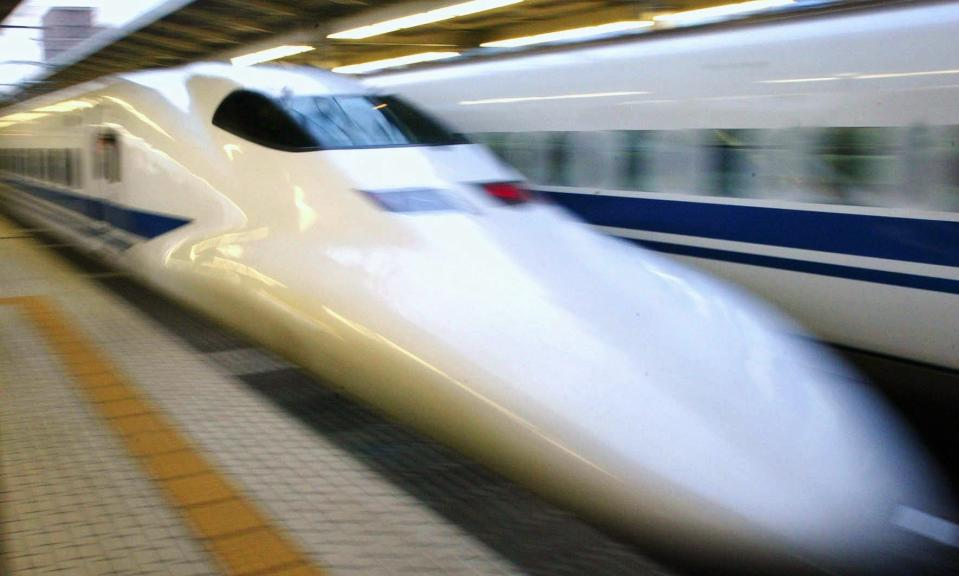 """The Shinkansen, also known as the """"Bullet Train"""", is a network of high-speed railway lines in Japan operated by four Japan Railways Group companies. The test run of the train can reach the speed of 443 km/h (275 mph). (Getty Images)"""