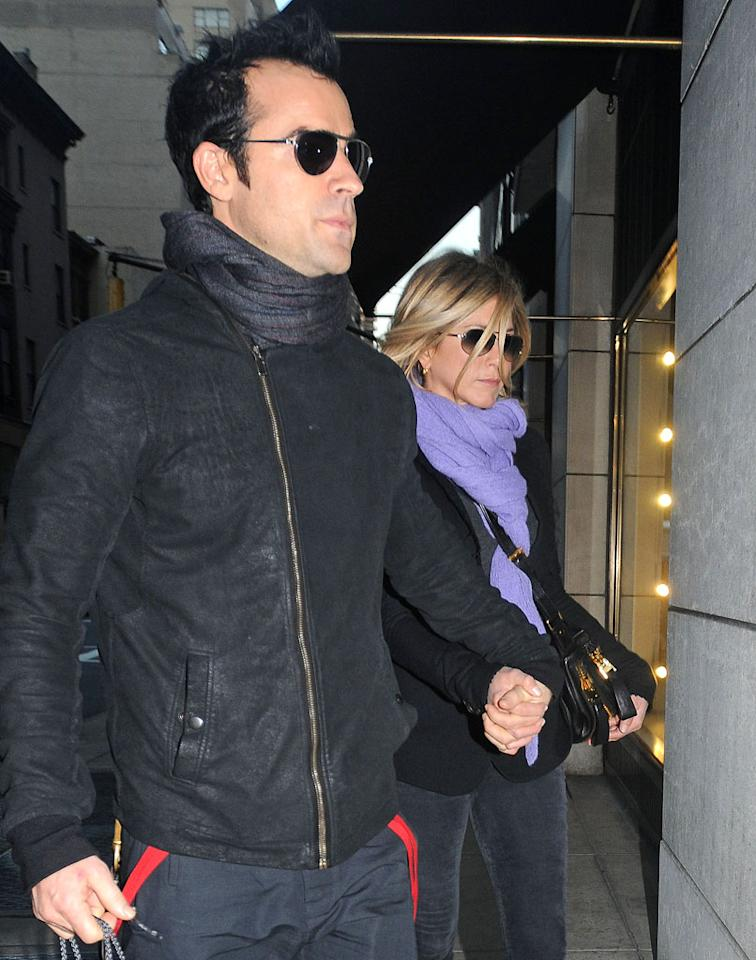 """Jennifer Aniston and Justin Theroux recently had """"a huge fight"""" after she suggested he """"get a nose job to pretty himself up for their wedding day,"""" reveals the <i>National Enquirer</i>. the mag says he's tired of Aniston """"comparing him to her 'oh-so-perfect' ex-husband Brad Pitt."""" For whether Theroux will end up going under the knife, click over to <a target=""""_blank"""" href=""""http://www.gossipcop.com/justin-theroux-nose-job-plastic-surgery-wedding-jennifer-aniston-fight/"""">Gossip Cop</a>."""