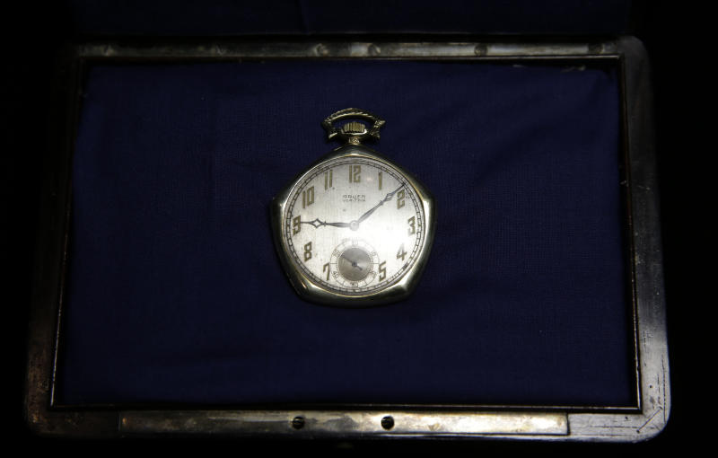 A pocket watch that was given to Babe Ruth in 1923 is displayed at Heritage Auctions office in Dallas, Wednesday, Jan. 22, 2014. (AP Photo/LM Otero)