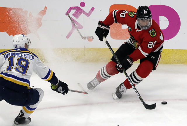 Brandon Saad has been absolutely on fire his last 15 outings. (AP Photo/Nam Y. Huh)