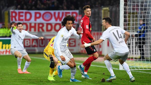 Bayern Munich looked like ceding more ground in the Bundesliga but two stoppage-time goals earned a 3-1 win to sink luckless Freiburg.