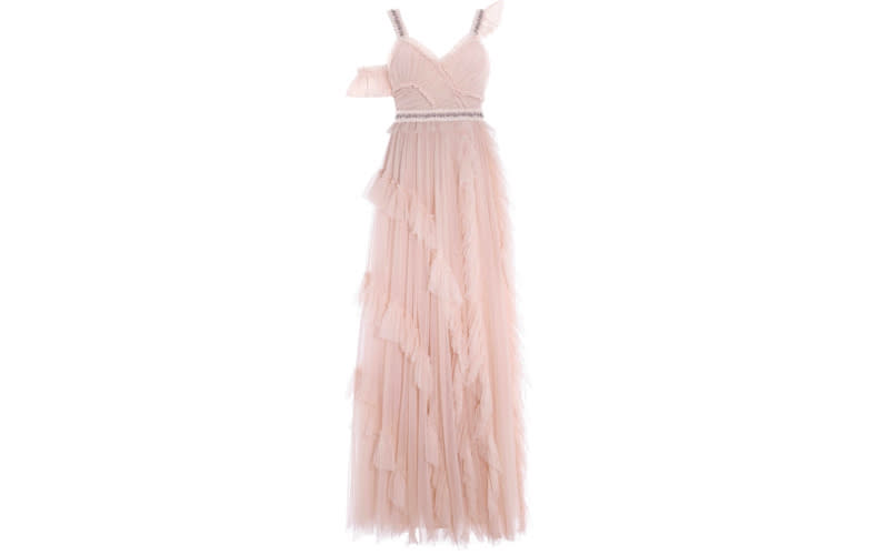 """<p>The search is over for the ultimate crowd-pleaser with this millennial pink gown. The layered tulle gives the wedding gown movement while its jazzy waistband is sure to please magpies. <em><a rel=""""nofollow noopener"""" href=""""https://www.needleandthread.com/uk/all-wedding/bride/degas-gown-tinted-pink"""" target=""""_blank"""" data-ylk=""""slk:Shop now"""" class=""""link rapid-noclick-resp"""">Shop now</a>.</em> </p>"""