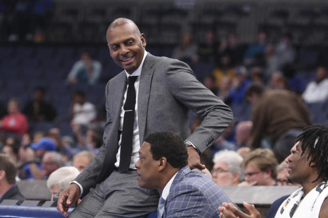 Memphis' head coach Penny Hardaway was all smiles towards the end of an NCAA college basketball game against Alcorn State Saturday, Nov. 16, 2019, in Memphis, Tenn. (AP Photo/Karen Pulfer Focht)