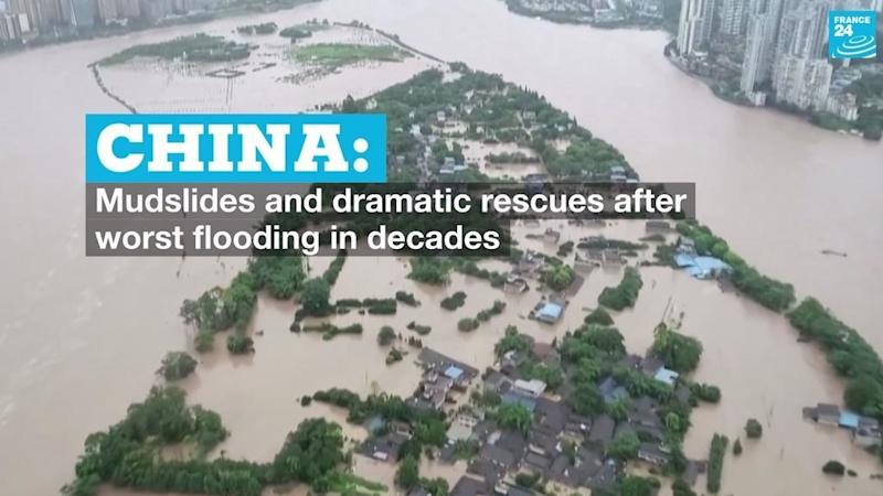 Mudslides and dramatic rescues as China hit by floods