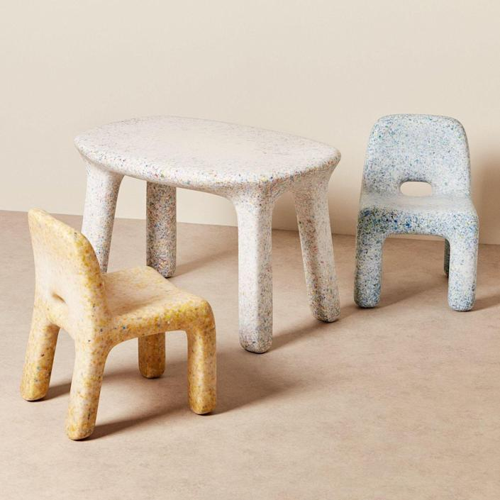 """This amazing chubby furniture set is made for kids, but I'd swoop it up in a second. Made of recycled plastic toys, the set is ready for an outdoor adventure. $649, Goodee. <a href=""""https://www.goodeeworld.com/collections/outdoor/products/charlie-chair-ocean"""" rel=""""nofollow noopener"""" target=""""_blank"""" data-ylk=""""slk:Get it now!"""" class=""""link rapid-noclick-resp"""">Get it now!</a>"""