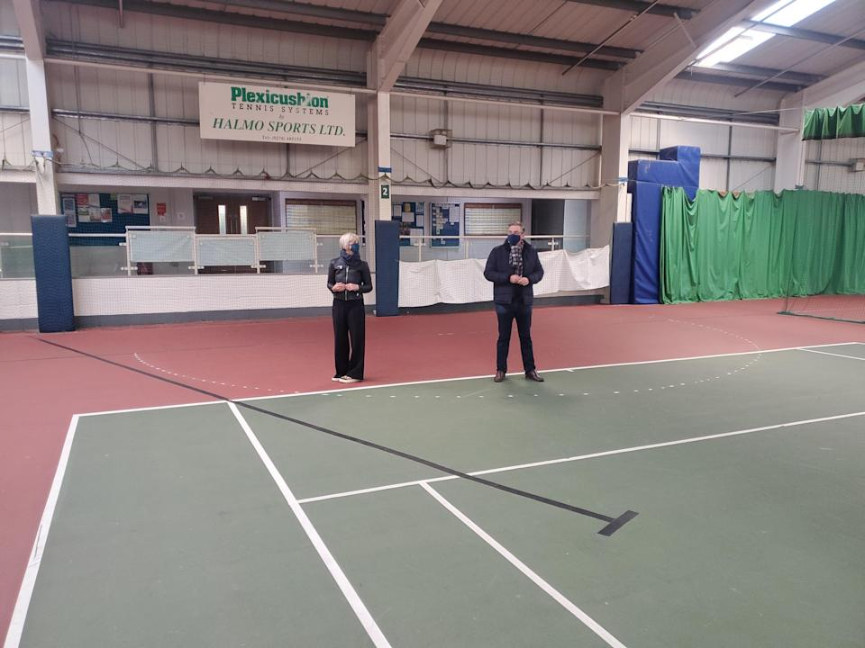 Julian Knight MP, right, visited a tennis centre in his consistency last week