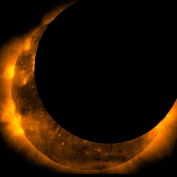 This image taken by the Hinode satellite shows the annular solar eclipse at its maximum on May 20, 2012.