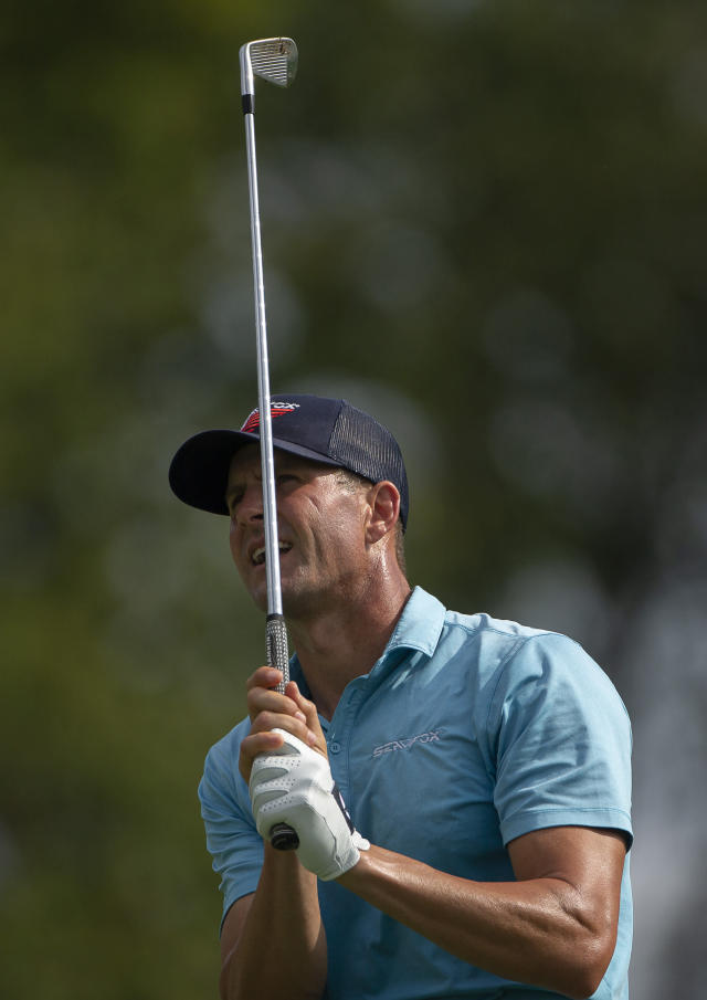 D.J. Trahan reacts to a shot during the second round of the Barbasol Championship golf tournament at Keene Trace Golf Club in Nicholasville, Ky., Friday, July 19, 2019. (Ryan C. Hermens/Lexington Herald-Leader via AP)