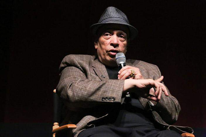 """Walter Mosley moderates a discussion at the """"Spotlight On Screenwriting: Boyz n the Hood 25th Anniversary Screening With John Singleton And Walter Mosley"""" presented by The Academy Of Motion Picture Arts And Sciences at SVA on June 12, 2016 in New York City. (Photo by Rob Kim/Getty Images for Academy of Motion Picture Arts and Sciences)"""