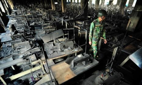 Rows of burnt sewing machines are nearly all that remain after a deadly fire ripped through this garment factory outside Dhaka, Bangladesh.