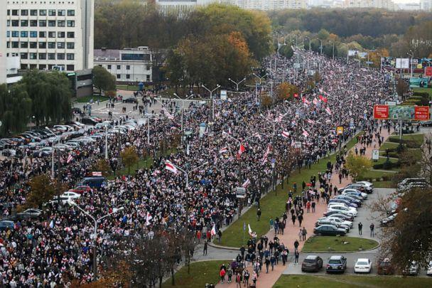 PHOTO: People attend an opposition rally to reject the Belarusian presidential election results in Minsk, Belarus, Oct. 25, 2020. (Belapan/Reuters)