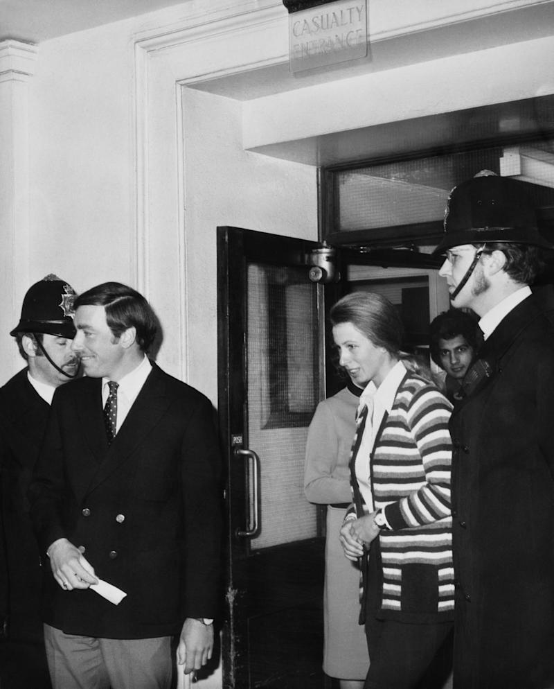 Princess Anne in 1974, after visiting two men at hospital who were shot in the attack (Getty Images)
