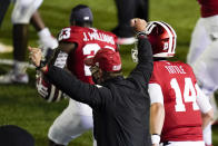 Indiana head coach Tom Allen celebrates after Indiana defeated Penn State in overtime of an NCAA college football game, Saturday, Oct. 24, 2020, in Bloomington, Ind. (AP Photo/Darron Cummings)