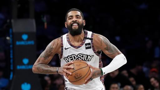 Brooklyn Nets' Kyrie Irving (11) passes the ball during the second half of an NBA basketball game against the Chicago Bulls Friday, Jan. 31, 2020, in New York. The Nets won 133-118. (AP Photo/Frank Franklin II)