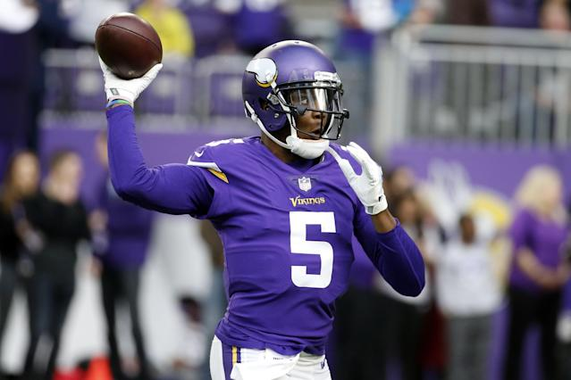Minnesota Vikings quarterback Teddy Bridgewater warms up before an NFL football game against the Chicago Bears, Sunday, Dec. 31, 2017, in Minneapolis. (AP Photo/Bruce Kluckhohn)