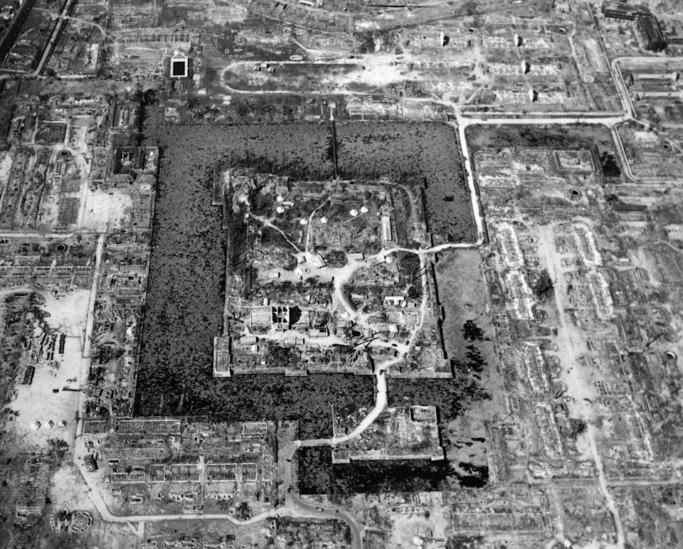 Here is a view of the total destruction of Hiroshima, the result of the first atomic bomb dropped in wartime, August 6, 1945.