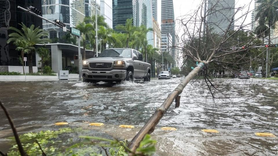 Parts of Miami's city centre were flooded and trees downed by torrential rain