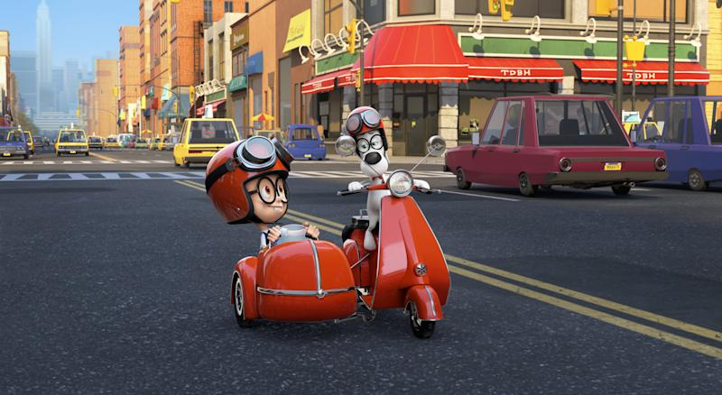 """This image released by DreamWorks Animation shows Sherman, voiced by Max Charles, left, and Mr. Peabody, voiced by Ty Burell, in a scene from """"Mr Peabody & Sherman."""" (AP Photo/ DreamWorks Animation)"""