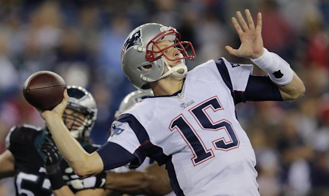 New England Patriots quarterback Ryan Mallett (15) throws a pass in the second half of an NFL preseason football game Friday, Aug. 15, 2014, in Foxborough, Mass. (AP Photo/Charles Krupa)