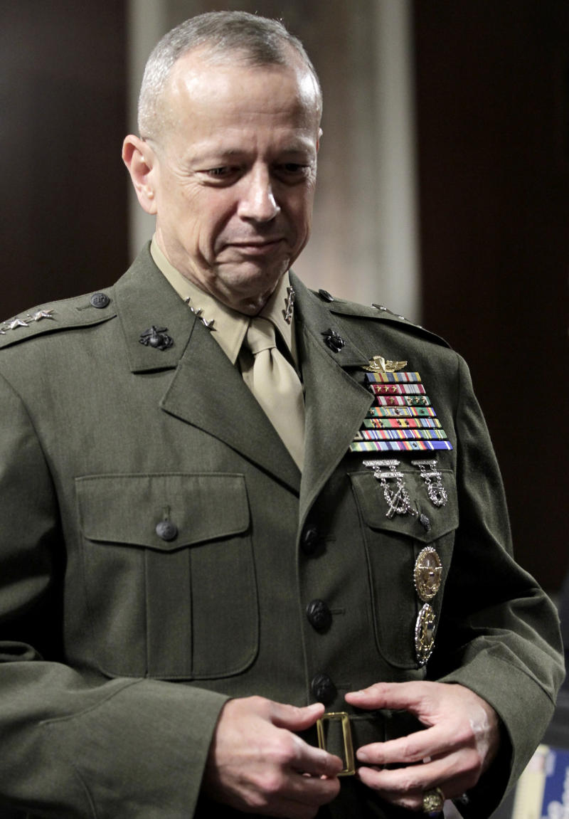 Marine Lt. Gen. John Allen, President Obama's choice to lead the military in Afghanistan, arrives on Capitol Hill in Washington, Tuesday, June 28, 2011, to testify before the Senate Armed Services Committee hearing on his nomination.   (AP Photo/J. Scott Applewhite)