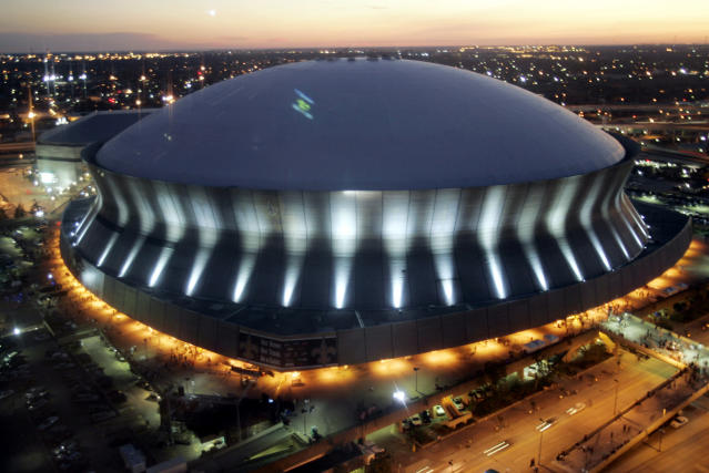 FILE - In this Sept. 25, 2006, file photo, the Louisiana Superdome in New Orleans is shown. In an earsplitting return to their rebuilt stadium, the Saints gave the Big Easy something to cheer about _ an undefeated football team that made it look easy with a 23-3 victory against the Atlanta Falcons.. (AP Photo/Judi Bottoni, File)