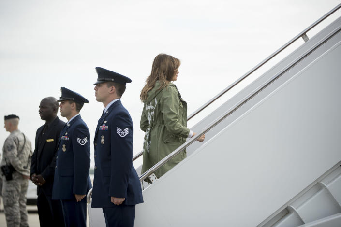 Melania Trump boarding a plane at Andrews Air Force Base to travel to Texas. (Andrew Harnik/AP)