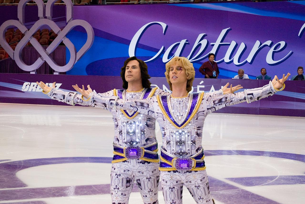 "<p>When two bitter rivals in men's skating are banned from the sport, they find a loophole to return: teaming up as a same-sex pairs team. What ensues is a hilarious, awkward, and occasionally affectionate skewering of the weirdest parts of figure skating and sports in general.</p> <p><a href=""https://www.popsugar.com/buy?url=http%3A%2F%2Fwww.amazon.com%2FBlades-Glory-Will-Ferrell%2Fdp%2FB00C3MTMSO&p_name=Watch%20%3Cstrong%3EBlades%20of%20Glory%3C%2Fstrong%3E%20on%20Amazon.&retailer=amazon.com&evar1=buzz%3Aus&evar9=47090633&evar98=https%3A%2F%2Fwww.popsugar.com%2Fentertainment%2Fphoto-gallery%2F47090633%2Fimage%2F47090647%2FBlades-Glory&prop13=api&pdata=1"" rel=""nofollow"" data-shoppable-link=""1"" target=""_blank"" class=""ga-track"" data-ga-category=""Related"" data-ga-label=""http://www.amazon.com/Blades-Glory-Will-Ferrell/dp/B00C3MTMSO"" data-ga-action=""In-Line Links"">Watch <strong>Blades of Glory</strong> on Amazon.</a></p>"