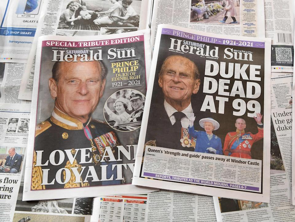 The world's press has gone all-out to mark duke's seven decades of service (AFP via Getty Images)