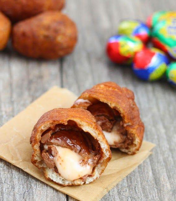 """<p>Proof that all eggs are meant to be fried, especially the chocolate ones. <br></p><p><a href=""""http://kirbiecravings.com/2014/04/fried-cadbury-eggs.html """" rel=""""nofollow noopener"""" target=""""_blank"""" data-ylk=""""slk:Get the recipe from Kirbie's Cravings »"""" class=""""link rapid-noclick-resp""""><em>Get the recipe from Kirbie's Cravings »</em></a><br></p>"""