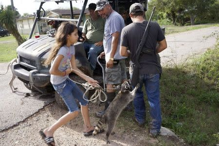 Fernando Rivera Jr. (C) looks at a neigbour's pet raccoon jumping up onto his son Fernando Rivera III's rifle (R) as a group of patriots patrolling in a UTV look on outside their home in Brownsville, Texas September 2, 2014. REUTERS/Rick Wilking