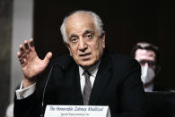 Zalmay Khalilzad, special envoy for Afghanistan Reconciliation, testifies before the Senate Foreign Relations Committee on Capitol Hill in Washington, April 27, 2021, during a hearing on the Biden administration's Afghanistan policy and plans to withdraw troops after two decades of war. (T.J. Kirkpatrick/The New York Times via AP, Pool)