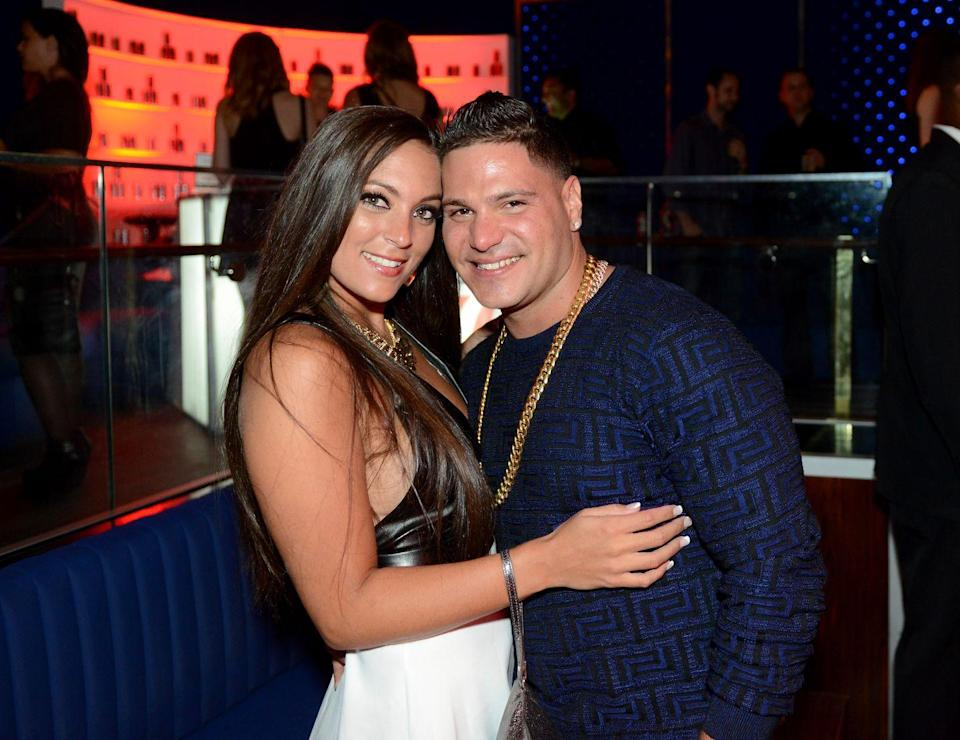 """<p>Giancola and Magro-Ortiz first got together in the summer of 2009, <em>Jersey Shore</em>'s first season. They broke up in January 2010 and got back together in April only to break up in season 3 (2011). After this, they were<a href=""""https://www.eonline.com/news/930428/jersey-shore-romance-rewind-a-timeline-of-ronnie-and-sammi-s-rocky-relationship"""" rel=""""nofollow noopener"""" target=""""_blank"""" data-ylk=""""slk:on and off again"""" class=""""link rapid-noclick-resp""""> on and off again</a> a couple more times (one of them a <a href=""""https://www.eonline.com/news/748516/jersey-shore-stars-stars-sammi-sweetheart-giancola-and-ronnie-ortiz-magro-are-back-together"""" rel=""""nofollow noopener"""" target=""""_blank"""" data-ylk=""""slk:rumor in March 2016)"""" class=""""link rapid-noclick-resp"""">rumor in March 2016)</a> before officially being over in December 2016, when Magro-Ortiz dated Malika Haqq. </p>"""