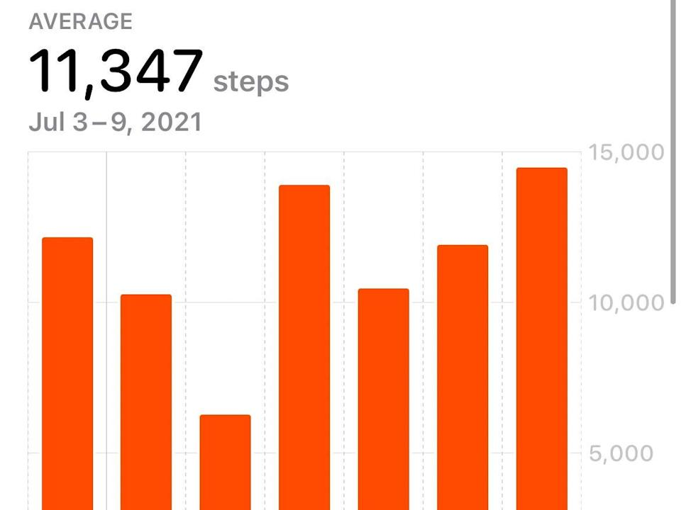 A screenshot of my steps during the week of the cruise.