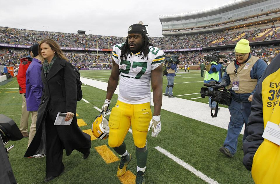Green Bay Packers running back Eddie Lacy (27) walks off the field after an NFL football game against the Minnesota Vikings, Sunday, Nov. 23, 2014, in Minneapolis. The Packers won 24-21. (AP Photo/Ann Heisenfelt)