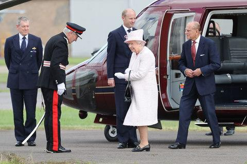 The Queen and Prince Phillip at Cambridge Airport last year - Credit: Getty
