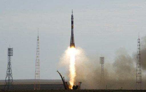 The Soyuz TMA-05M spacecraft blasts off from the Russian leased Kazakh Baikonur cosmodrome on July 15. The rocket blasted off with an international crew of three toward the International Space Station on Sunday in a mission testing the reliability of Russia's crisis-prone space programme