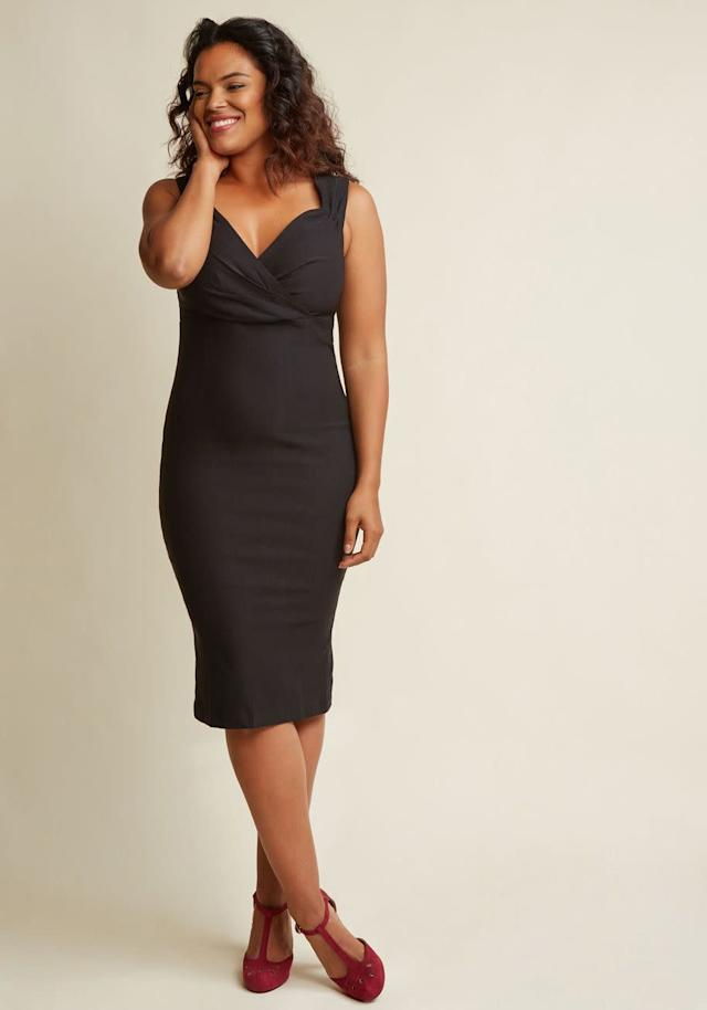 A black sheath dress that willflatter any body type. Get this fail-proof dress at <span>Modcloth for $80</span>.