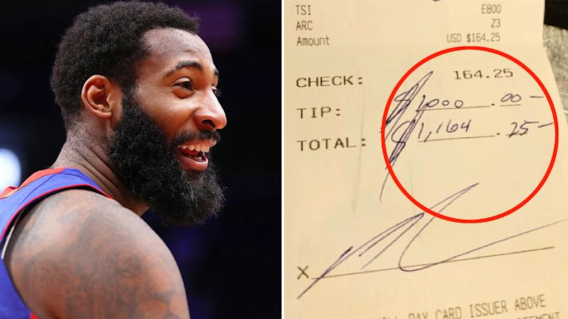Pictured here, Andre Drummond and his extraordinary restaurant tip.