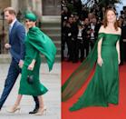 "<p>There were so many things we loved about Meghan's style during the Commonwealth Day celebrations in March 2020, but we were particularly drawn to her emerald <a href=""https://www.harpersbazaar.com/celebrity/latest/a31250735/meghan-markle-green-dress-commonwealth-day-2020/"" rel=""nofollow noopener"" target=""_blank"" data-ylk=""slk:Emilia Wickstead cape dress"" class=""link rapid-noclick-resp"">Emilia Wickstead cape dress</a>, which was strikingly similar to the Dior gown Julianne Moore wore to the Cannes Film Festival in 2019. </p>"