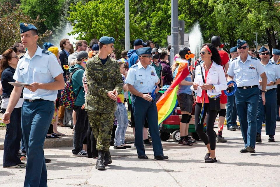 Pride parade featuring members of the military in Winnipeg