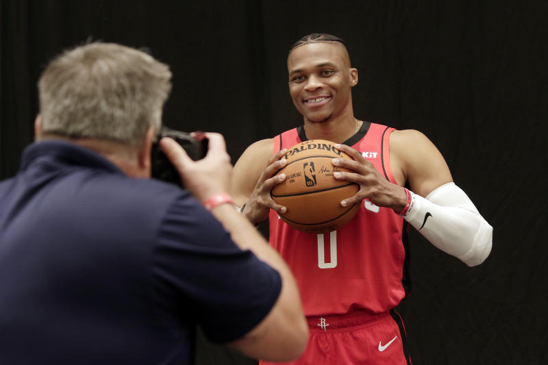 Houston Rockets' Russell Westbrook is photographed during NBA basketball media day Friday, Sept. 27, 2019, in Houston. (AP Photo/Michael Wyke)