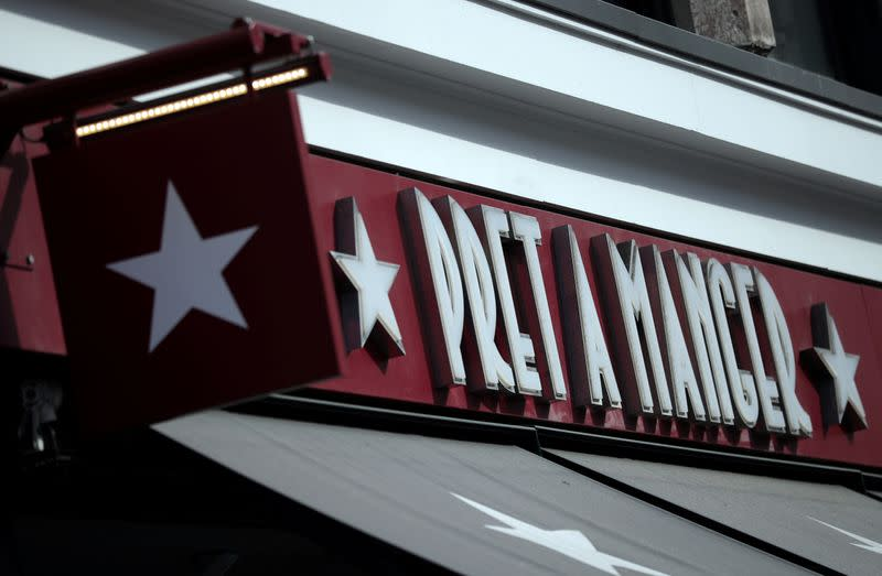 FILE PHOTO: Signage is seen outside of a Pret a Manger in London