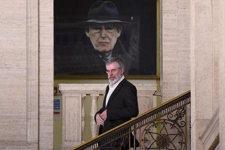 Sinn Fein's Gerry Adams leaves Parliament buildings at Stormont for the last time in his role as Sinn Fein President in Belfast, Northern Ireland, February 9, 2018. REUTERS/Clodagh Kilcoyne